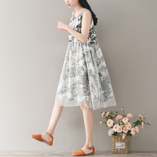 CHINESE WIND NET YARN VEST SKIRT SLEEVELESS COTTON AND LINEN DRESS