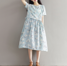 WAIST WAS THIN PRINTED SHORT-SLEEVED COTTON AND LINEN DRESS TIDE