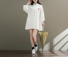 LOOSE EMBROIDERY LOOSE SHIRT COLLAR LONG SLEEVE STUDENT DRESS TIDE