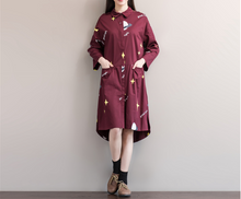WOMEN 'S TIDE COTTON PRINTING SCHOOL STYLE AIR - SHIRT DRESS IN THE LONG SECTION