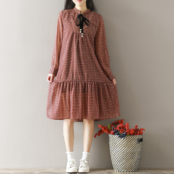 LOOSE LARGE PRINT FASHION FLORAL LONG SLEEVES DRESS LONG TIDE