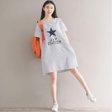 LARGE SIZE STRIPED T-SHIRT DRESS KNITTED COTTON SHORT-SLEEVED DRESS