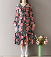 LARGE SIZE FLORAL BOTTOM SKIRT LONG SLEEVES CHIFFON DRESS IN LONG SECTION