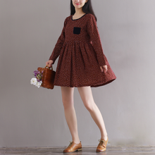 FLORAL COTTON AND LINEN HIT COLOR CORDUROY DRESS SPRING