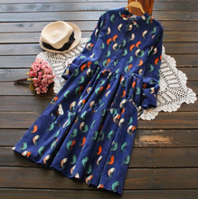 SMALL FRESH BIRD PRINTED LONG-SLEEVED CORDUROY DRESS IN THE LONG SECTION