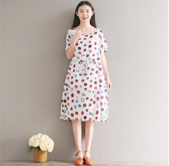 RETRO LOFTY WAISTLINE SHORT SLEEVES COTTON AND LINEN DRESS TIDE