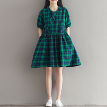 LARGE SIZE WOMEN'S CHECKERED BOW TIE COTTON AND LINEN DRESS