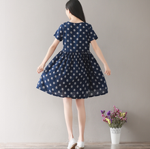 COLLEGE WIND LOOSE CODE DOT WAVE POINT PRINTING COTTON AND LINEN DRESS TIDE