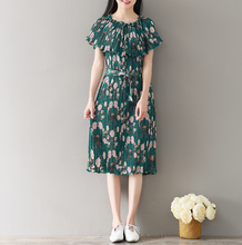 GREEN ONE PIECE FASHION PLEATED PRINT CHIFFON SKIRT FLORAL DRESS