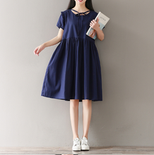 LOOSE LARGE SIZE COTTON LINEN EAR SHORT SLEEVES BLUE DRESS