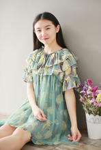 LOOSE LARGE SIZE SHORT SLEEVES LOTUS LEAF CHIFFON DRESS TIDE