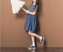 LOOSE KNITTED STRIPED STITCHING COWBOY A SHORT SLEEVES DRESS