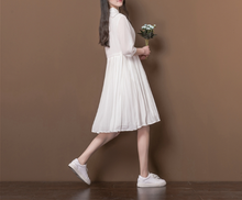 WHITE COLLAR COLLAR WAIST LOOSE FIVE CENTS SLEEVE PLEATED SKIRT CHIFFON DRESS