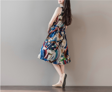 COTTON AND LINEN LOOSE LARGE SIZE GRAFFITI PRINTED VEST SKIRT SLEEVELESS DRESS TIDE