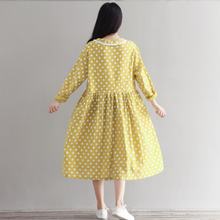 DOLL COLLAR WAVE LONG SLEEVES COTTON AND LINEN DRESS