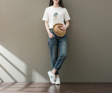 SHORT SLEEVE ROUND NECK EMBROIDERY EMBROIDERY T-SHIRT COTTON COAT TIDE