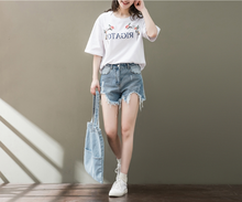 EMBROIDERY PRINTED FIVE-POINT SLEEVE WHITE WILD T-SHIRT SHIRT