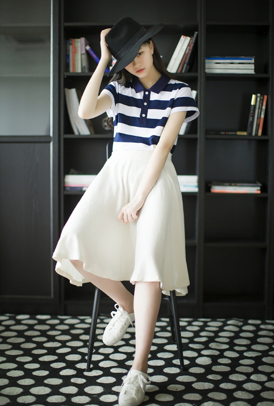 SMALL FRESH STRIPED BOTTOMING SHIRT POLO COLLAR SHORT SLEEVE T-SHIRT BLOUSE