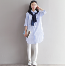 BLUE AND WHITE STRIPED SHAWL FAKE TWO SHIRT SKIRT DRESS SHIRT DRESS