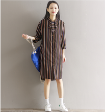 LARGE SIZE STRIPES WERE THIN LONG LONG SLEEVES SHIRT DRESS SHIRT SKIRT