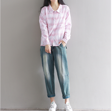 COLLEGE WIND LOOSE LATTICE COTTON LINEN BAT SLEEVES SHIRT SHIRT SPRING