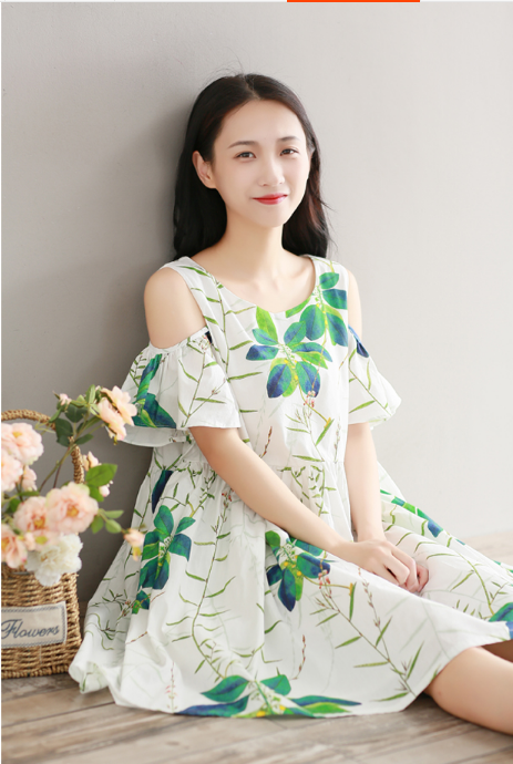 RETRO LOOSE LARGE SIZE PRINTED COTTON CLOTH STRAPLESS SHORT SLEEVE DRESS