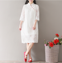 EMBROIDERED LOOSE WHITE DRESS CHIFFON MODIFIED CHEONGSAM SKIRT LONG SECTION