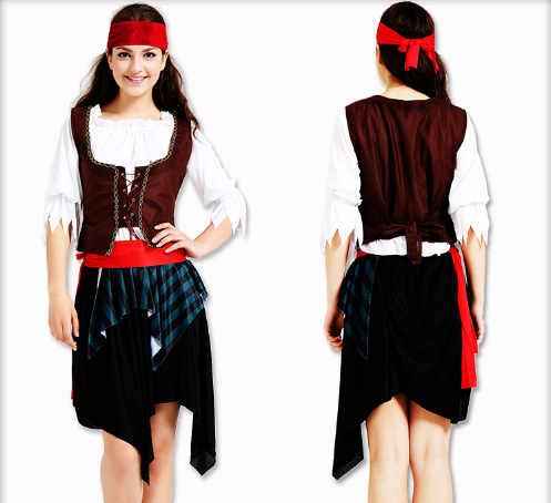 PIRATES OF THE CARIBBEAN 160-175CM HEADWEAR / COAT / SHIRT / BELT / SKIRT