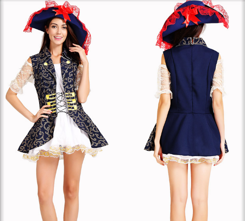 BLUE PATTERN PIRATE HAT / JACKET / DRESS