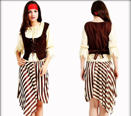FEMALE BEIGE PIRATE HEADWEAR WTIH SHIRT,VEST, PANTS, SKIRT