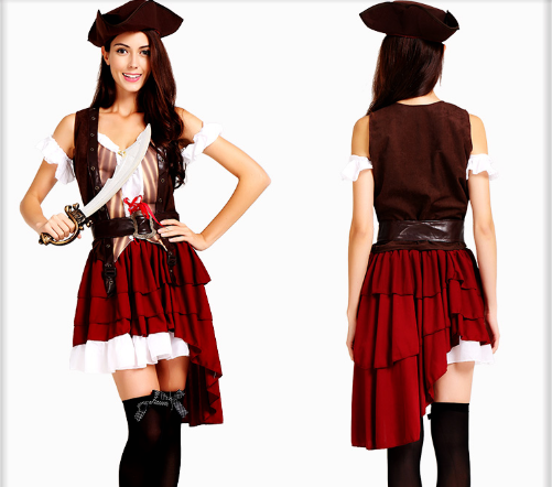 DOVETAIL SKIRT PIRATE HAT WITH VEST SLEEVE BELT AND SKIRT