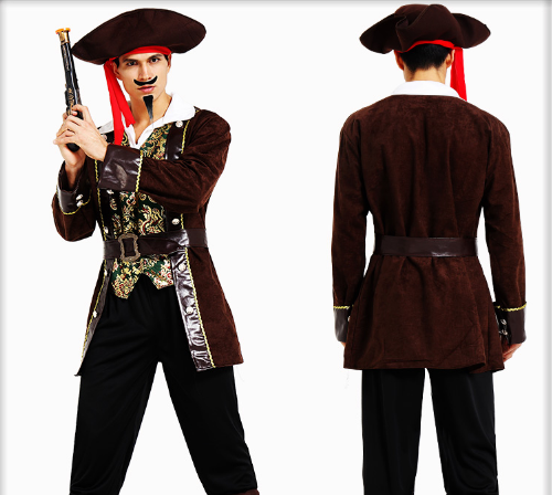 DEEP COFFEE PIRATE HAT TUNIC JACKET BELT PANTS & SHOE COVER