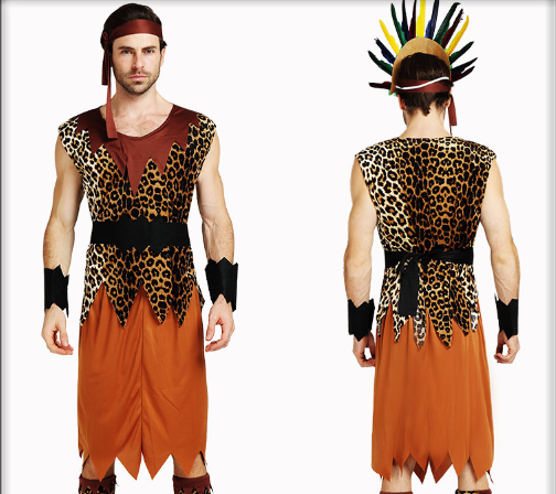 SHOULDER MALE WILD MAN HEADBAND WITH WRIST TOP SKIRT AND LEGGINGS