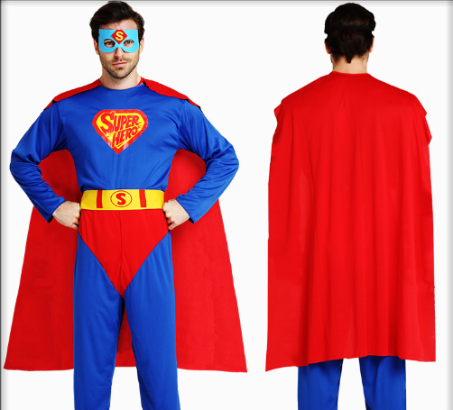 MALE HERO SUPERMAN CLOAK AND BELT AND ONE PIECE