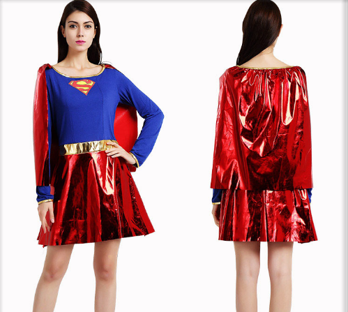 SEXY FEMALE SUPERMAN CLOAK AND PIECEMEAL CLOTHING