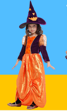 CUTE PUMPKIN WITCH DRESS WITH HAT