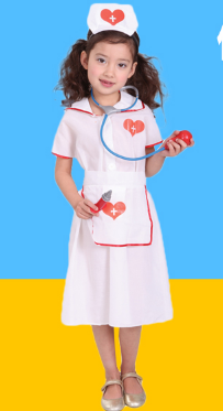 PRETTY LITTLE NURSE DRESS WITH APRON AND HEADDRESS