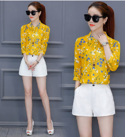 SEVEN POINTS SLEEVED COLLAR PRINTED SHIRT