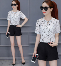HIGH WAIST SHORTS CHIFFON SUIT TWO SETS OF WESTERN STYLE