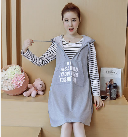 LONG SLEEVE T-SHIRT FAKE TWO-PIECE HOODED DRESS