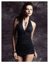 COOL BLACK GATHER CHEST SKIRT SWIMSUIT