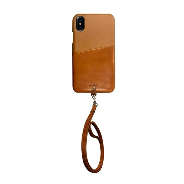 Shell Series Case for iPhone X [Brown Leather Wallet & Strap]