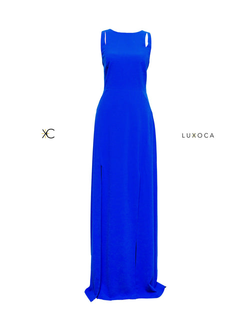 Halston Heritage Cobalt Blue Maxi Dress UK 12