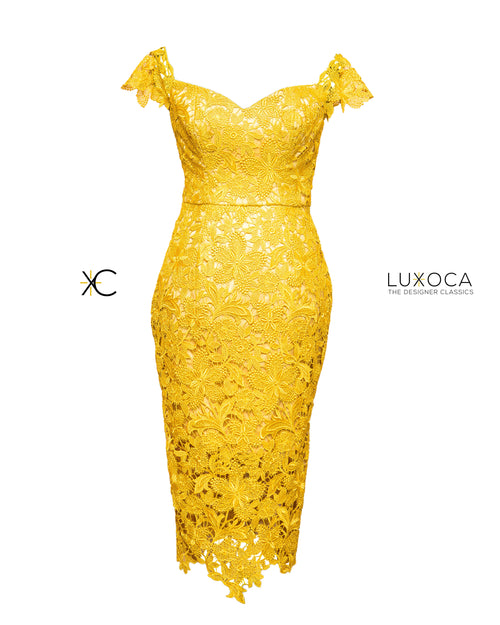 Christie Brown Custom Made Gold Lace Midi Dress UK 8