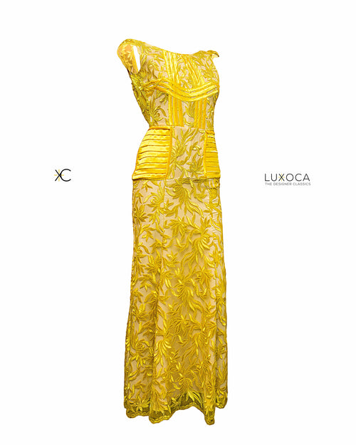 Custom Made April Rust Yellow Lace Maxi UK 8