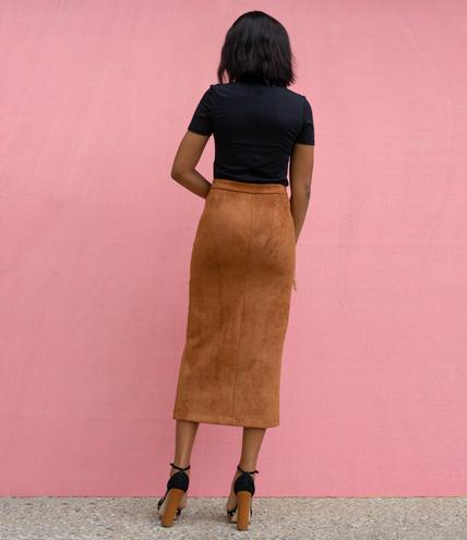 Brown Gold Goddess Front Slit Skirt