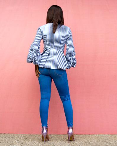 Bahamas Blue Striped Ruffle Sleeves Top