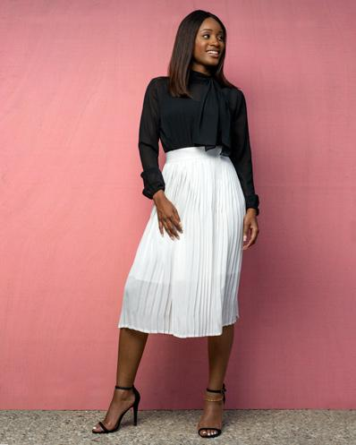 White Sunshine Deep Pleated Skirt