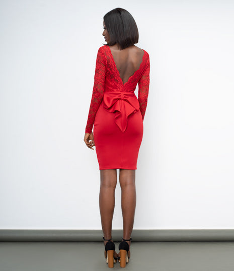 Red Open back lace midi dress with bow detail