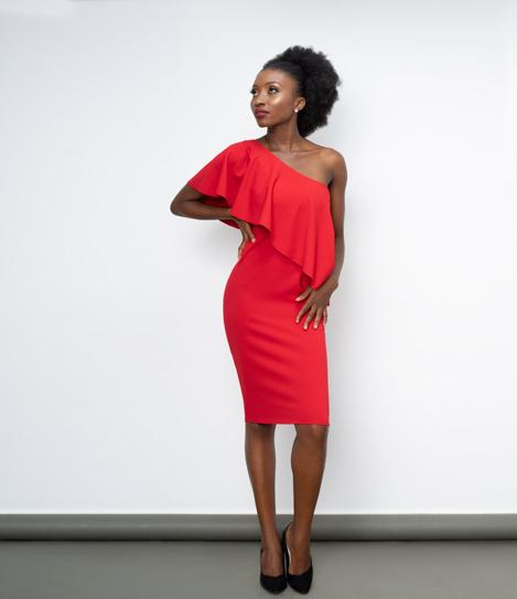 Red One Shoulder Frilled Midi Dress